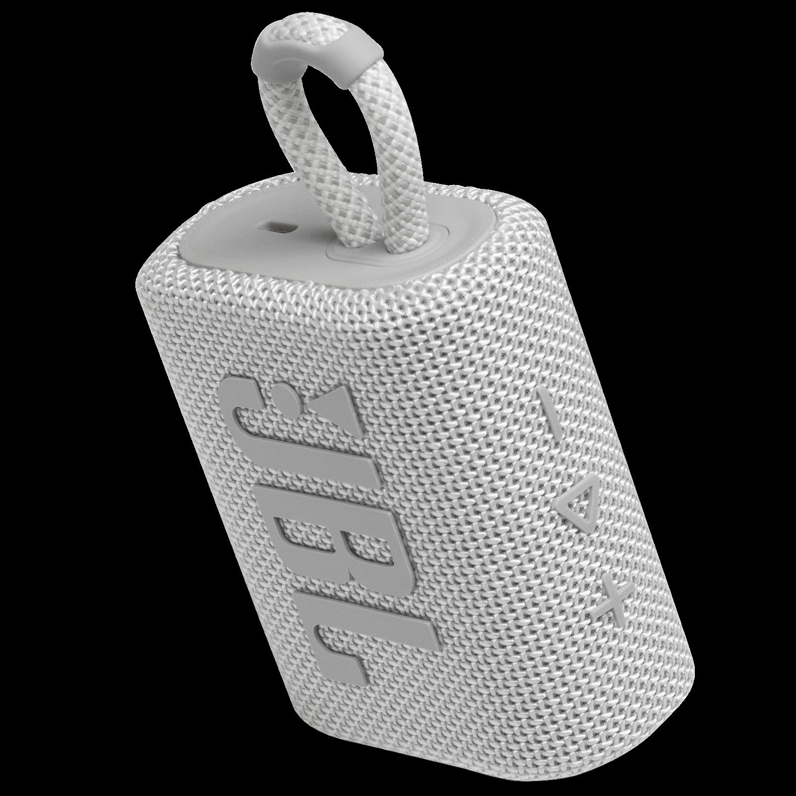 JBL GO 3 - White - Portable Waterproof Speaker - Detailshot 2