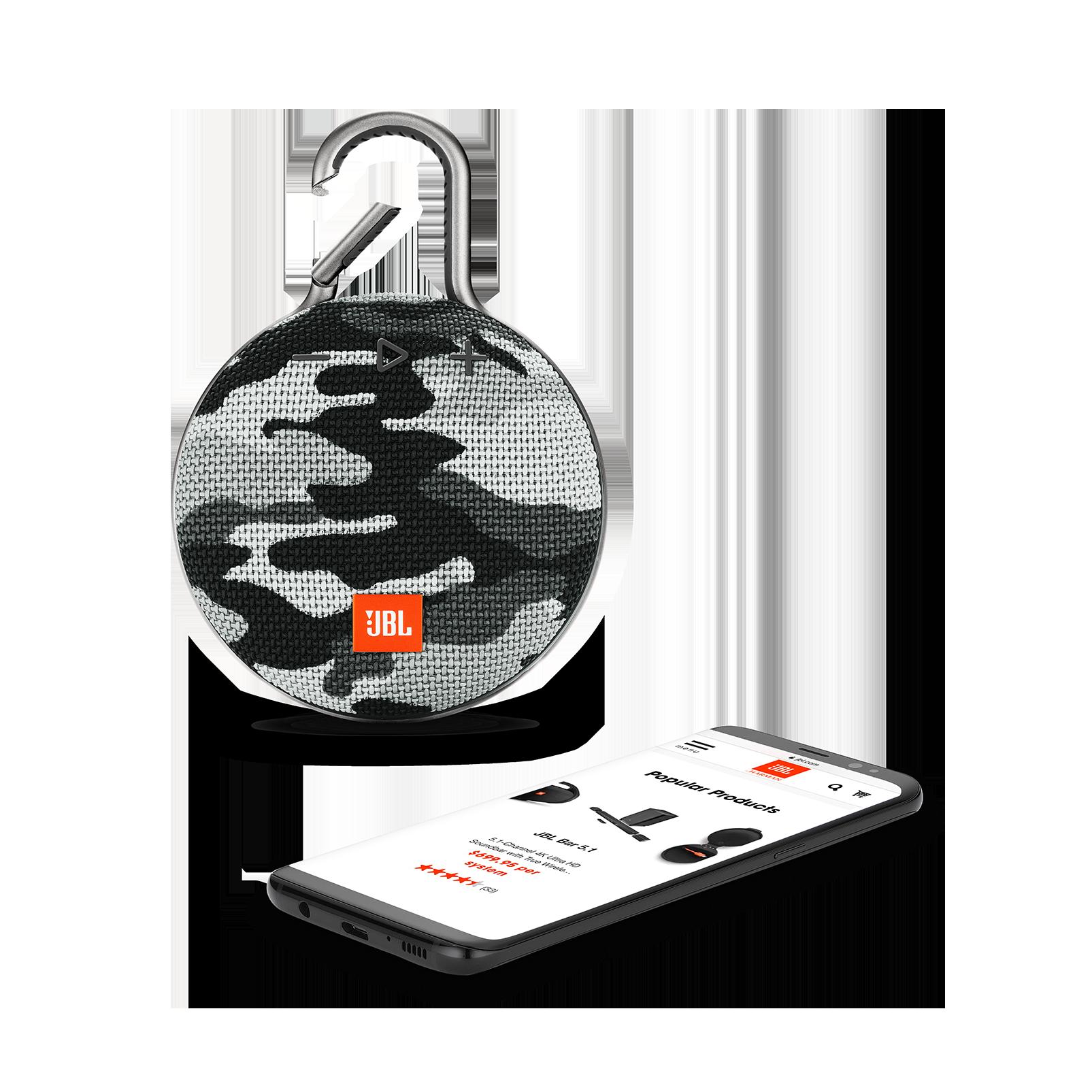 JBL CLIP 3 - Black/White Camouflage - Portable Bluetooth® speaker - Detailshot 1