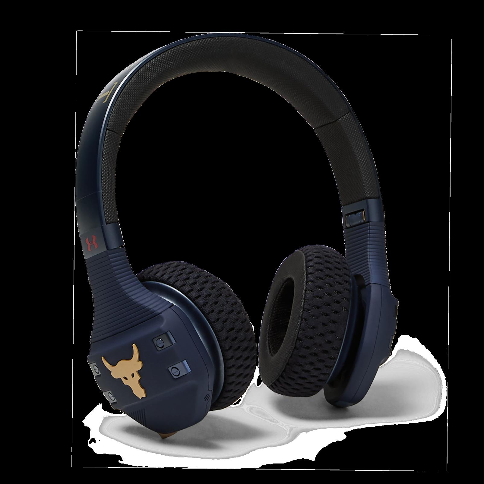 UA Sport Wireless Train Project Rock – Engineered by JBL - Blue - On-ear sport Headphones - Hero